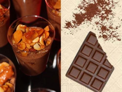 Mousse chocolat caramel & son croustillant cacahuètes amandes