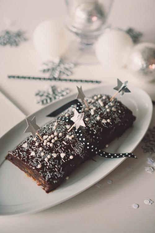 buche chocolat et caramel beurre salé,buche au caramel,buche de noël,flamant rose le blog