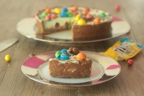 cheesecake aux m&m's,pâte sablée aux spéculoos
