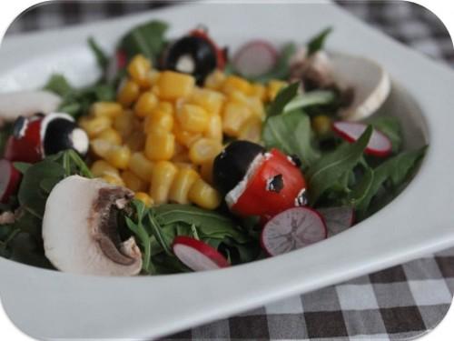 Pour célébrer l'arrivée du printemps, j'ai eu envie d'une petite salade pleine de fraicheur, agréable à manger et surtout facile à réaliser ! Pour apporter une touche d'originalité à ma salade, j'ai créé une petite coccinelle en tomate cerise, olive et fromage frais ♥