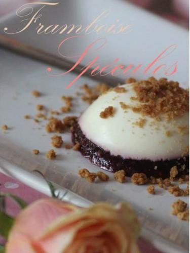 cheesecake en demi-sphère aux framboises et éclats de spéculos,demi-sphère de cheesecake,cheesecake framboises et spéculos