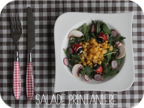 Salade printanière, Coccinelle en tomate cerise ♥