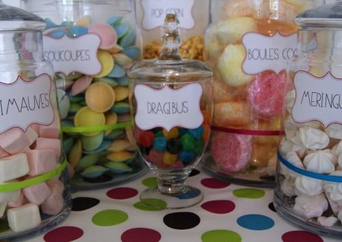 candy bar, apéritif sucrée, thème pop