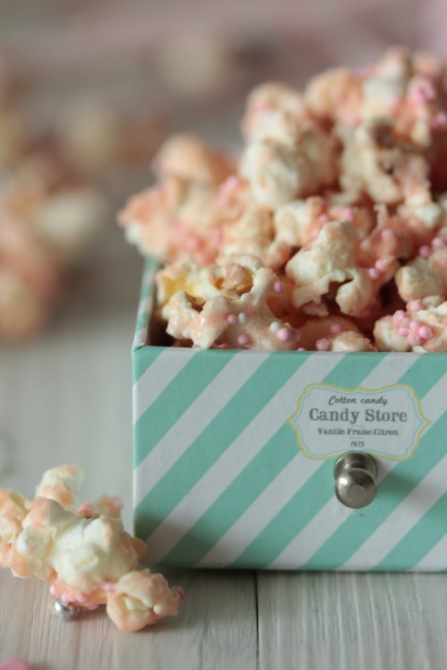 pop-corn à la barbe à papa,cotton candy pop-corn