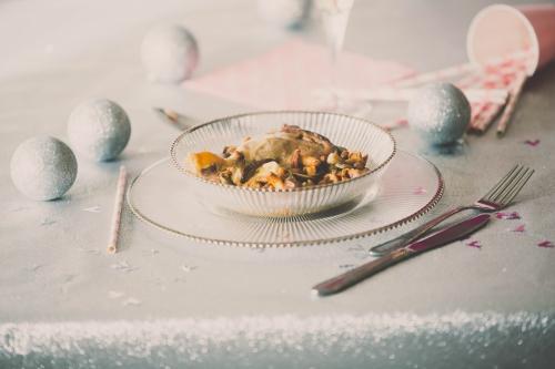 blog culinaire nantes,blog nantes,blog cuisine nantes,menu de fête 2014,menu de fêtes de fin d'année sans se ruiner,chalenge menu de fêtes blog ten,œuf mollet sur son crémeux de potiron et foie gras,confit de canard à la forestière,cheesecake au pain d'épice et au caramel