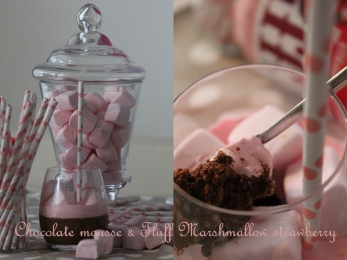 Mousse au chocolat {& nappage Fluff Marshmallow strawberry}