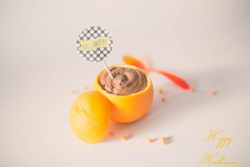 mousse au chocolat et aux zestes d'oranges,mousse orange et chocolat,mousse orange et chocolat halloween,dessert halloween
