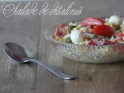 salade de ditalini,salade tomates,olives,coppa mozzarella