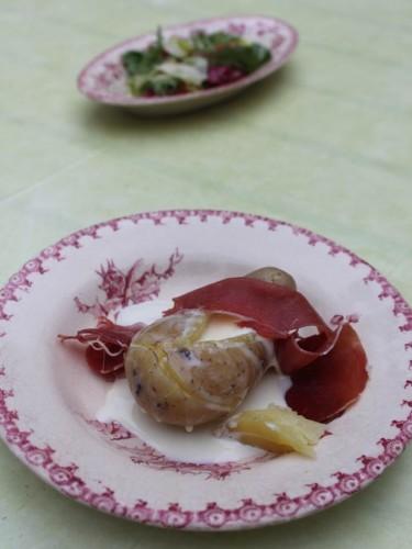pomme de terre à la cancoillotte et au jambon de serrano